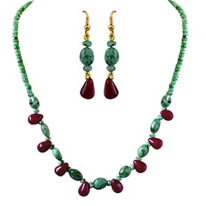 Precious Stone Sets-Single Line Real Natural Necklace & Earrings Set