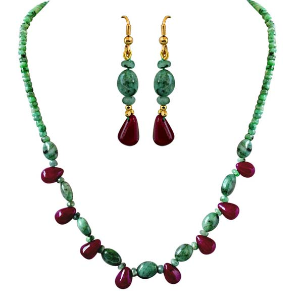 Single Line Real Natural Necklace & Earrings Set