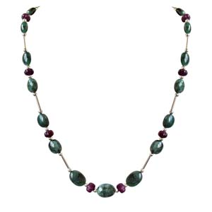 Precious Stone Necklaces-Single Line Pipe & Beads Necklace