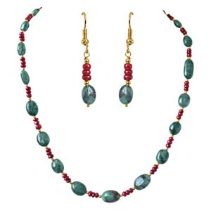 Precious Stone Sets-Single Line Real Oval Necklace & Earrings Set