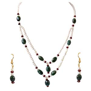 Precious Stone Sets-Real Oval Necklace & Earrings Set