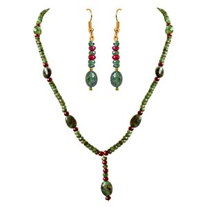 Precious Stone Sets-Real Oval Trendy Necklace & Earrings Set
