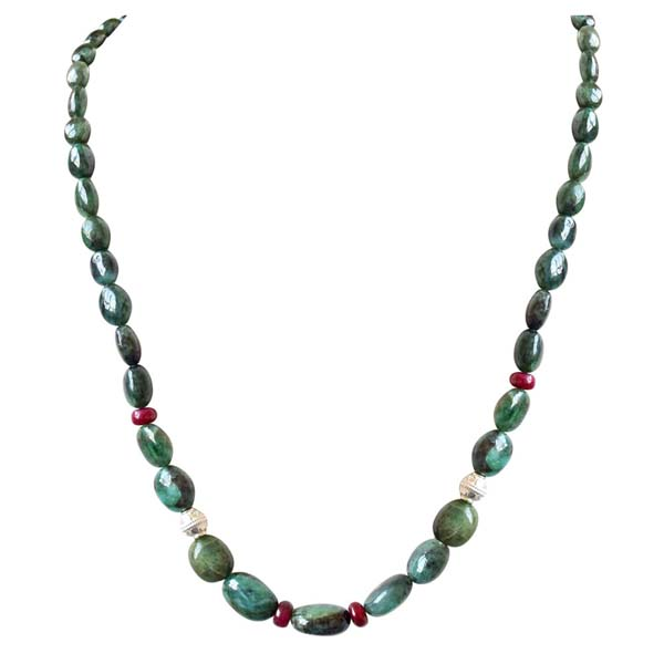 Single Line Oval Emerald Ball Necklace