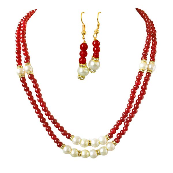 Precious Stone Sets-2 Line Necklace & Earrings Set