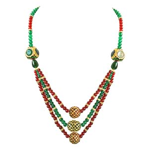 Precious Stone Necklaces-Round Coloured Stone Necklace