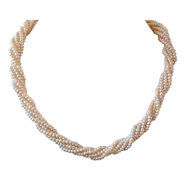 5 Line Twisted Pearl Necklace