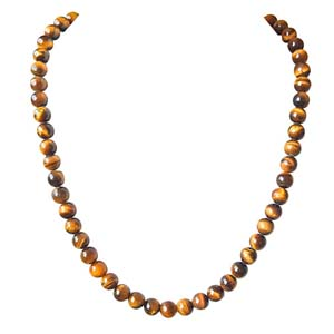 Precious Stone Necklaces-Single Line Real Brown Tiger Eye Necklace
