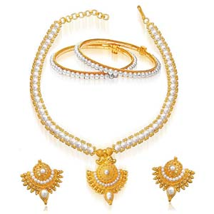 Precious Stone Sets-Gold Plated Pendant & Real Pearl Set