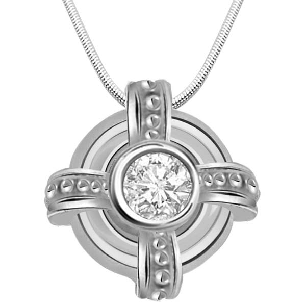 Diamond Pendants-Diamond & Sterling Silver Pendant