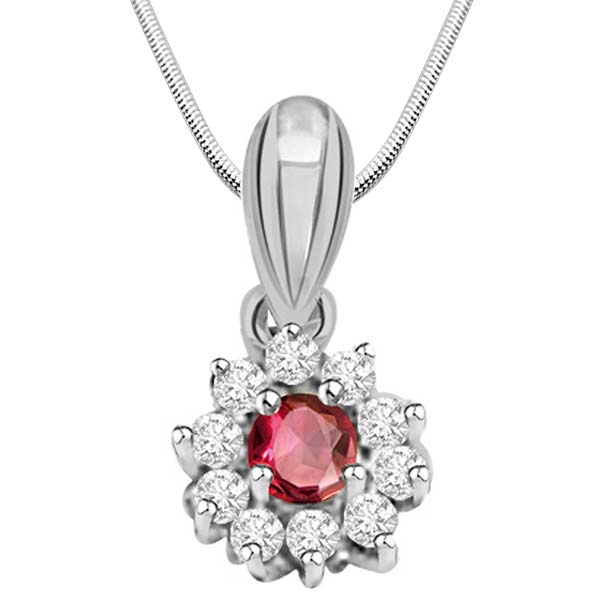 Ruby, Diamond & Sterling Silver Pendant