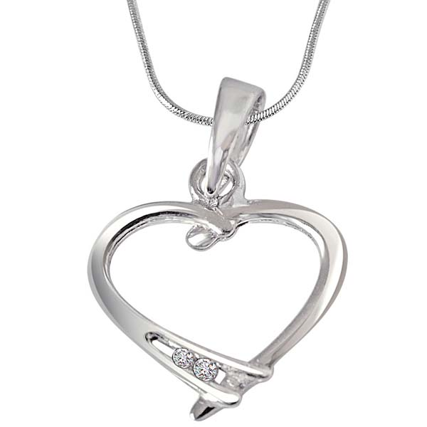 Diamond & Sterling Silver Pendant with Silver Finished Chain