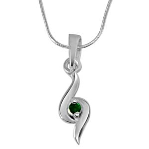 Silver Pendants-Emerald Pendant in Sterling Silver with Silver Finished Chain