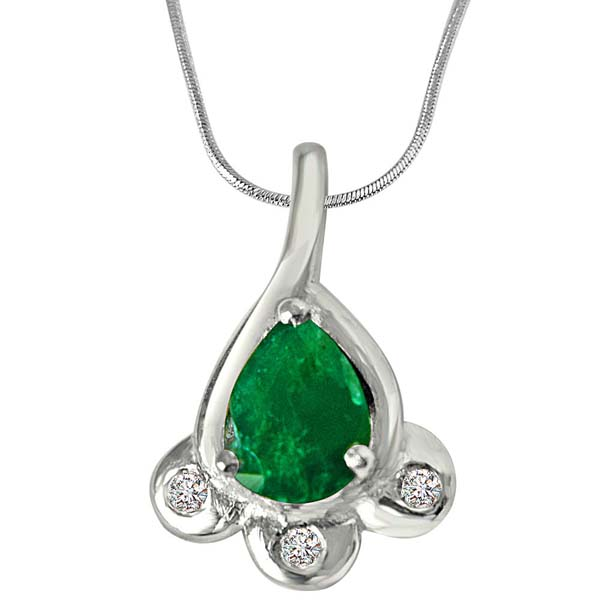 Diamond & Green Emerald Pendant in Sterling Silver