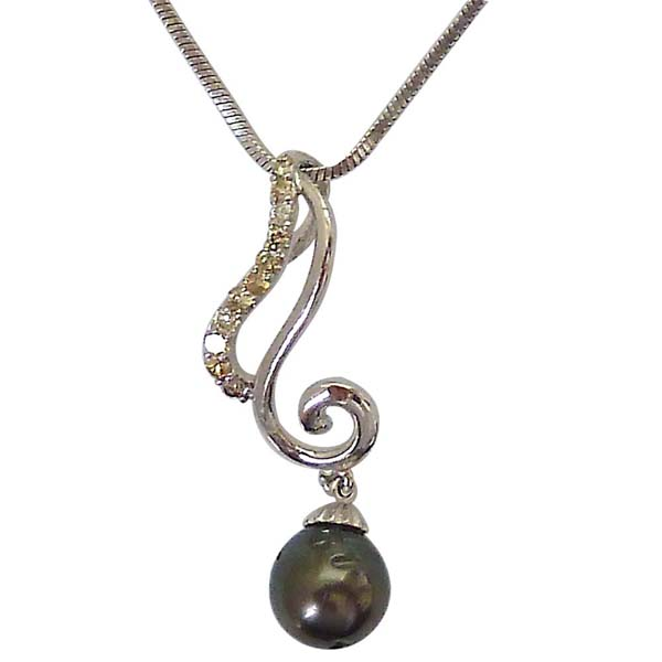 Diamond Pendants-Diamond & Tahitian Black Pearl Low Cost Pendant