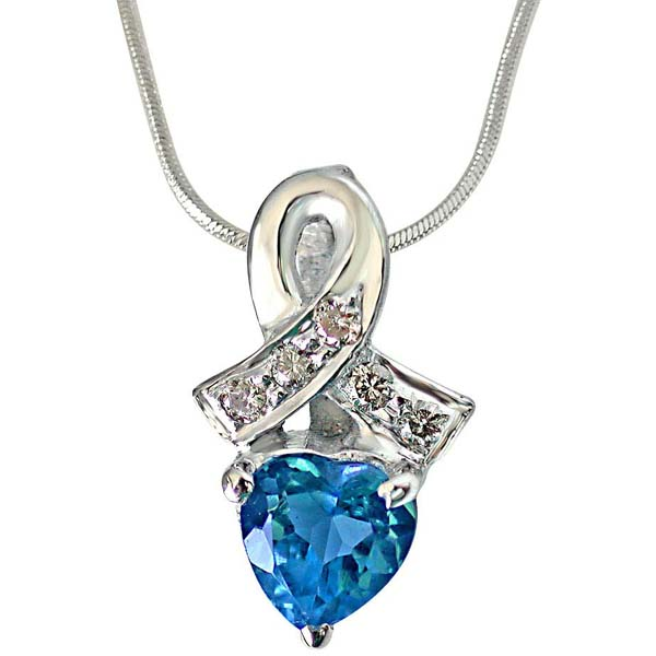 Real Diamond & Heart Shaped Blue Topaz Pendant