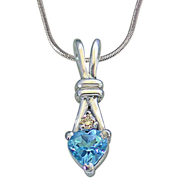 Single Diamond with Heart Shape Swiss Blue Topaz Silver Pendant