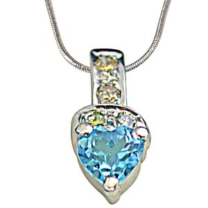 Diamond Pendants-Heart Shape Swiss Blue Topaz Silver Pendant