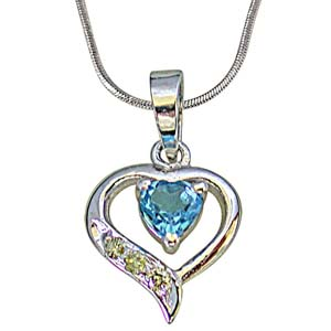 Diamond Pendants-Heart Shape Silver with Heart Blue Topaz Pendant