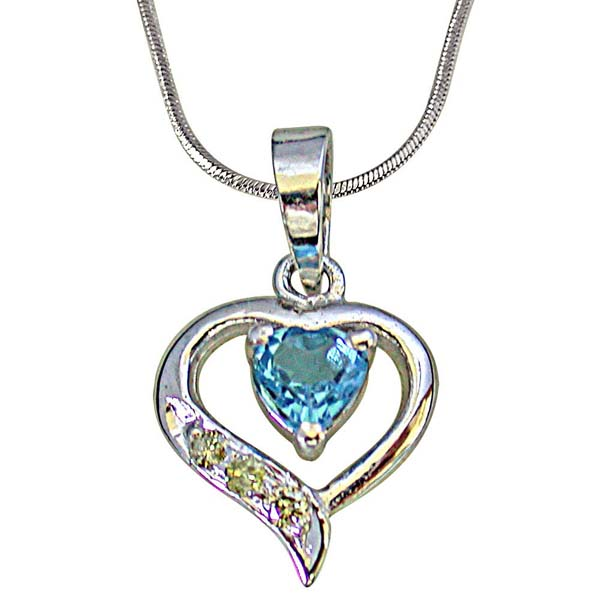 Heart Shape Silver with Heart Blue Topaz Pendant