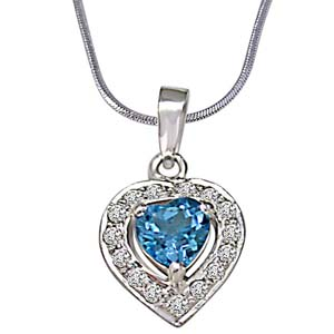 Diamond Pendants-Heart Shaped Blue Topaz & Diamond Pendant