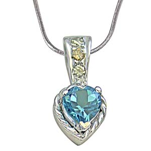 Diamond Pendants-Solitaire Heart Shape Swiss Blue Topaz & Diamond Pendant