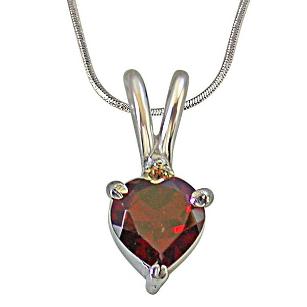 Diamond Pendants-Diamond & Heart Shape Garnet in Silver Pendant