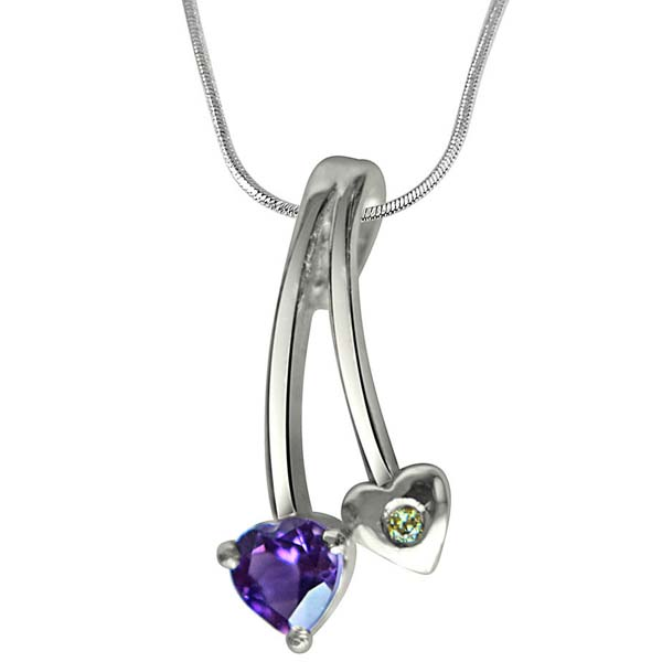 Diamond, Purple Amethyst & Sterling Silver Pendant