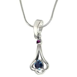 Silver Pendants-Red Ruby & Blue Sapphire Sterling Silver Pendant