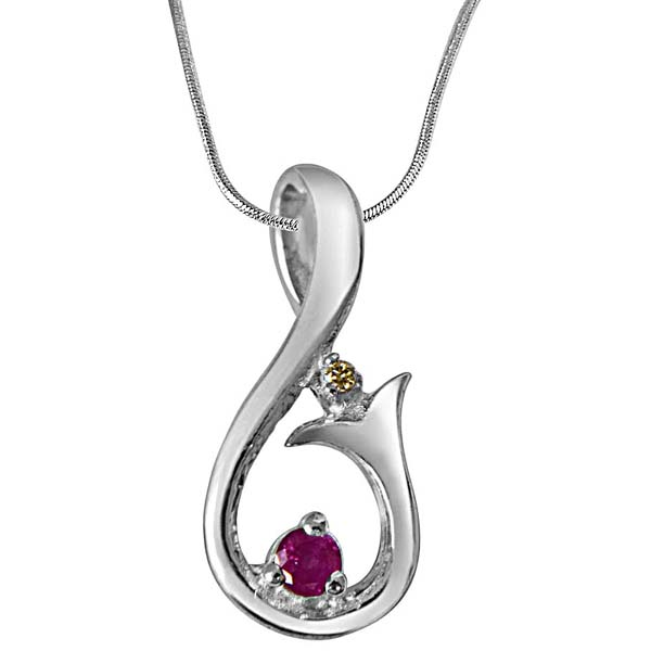 Diamond, Ruby & Sterling Silver Pendant