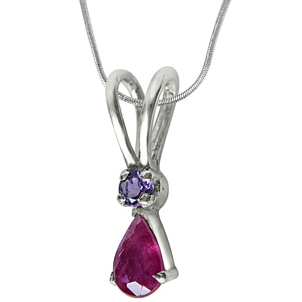 Red Ruby, Purple Amethyst & Sterling Silver Pendant
