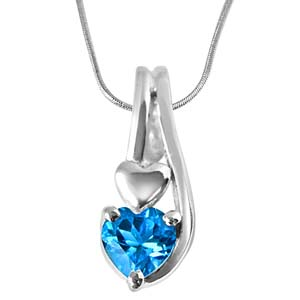 Silver Pendants-Heart Shaped Blue Topaz Set in Sterling Silver Pendant