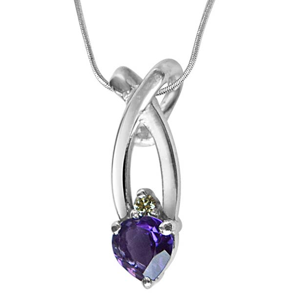 Diamond Pendants-Diamond, Purple Amethyst & Sterling Silver Pendant