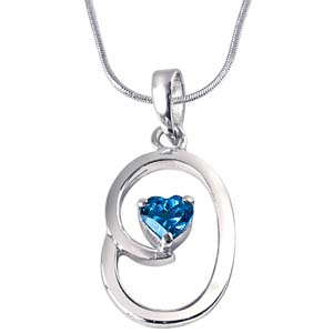 Silver Pendants-Heart Shaped Blue Topaz & Sterling Silver Pendant