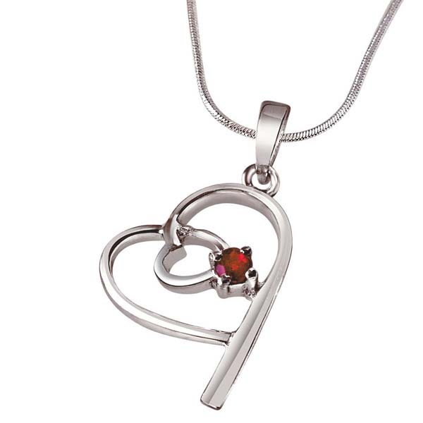 Red Ruby & Sterling Silver Pendant