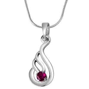 Silver Pendants-Red Ruby & Sterling Silver Pendant