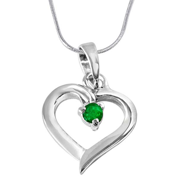 Green Emerald & Sterling Silver Pendant