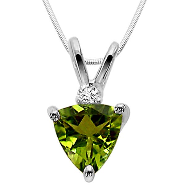 Diamond Pendants-Green Peridot & Sterling Silver Pendant