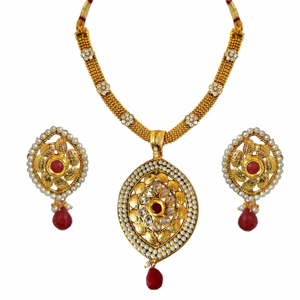 Pearl Sets-Ethnic Red and White Stone, Shell Pearl and Gold Plated Pendant Necklace and Earring Set