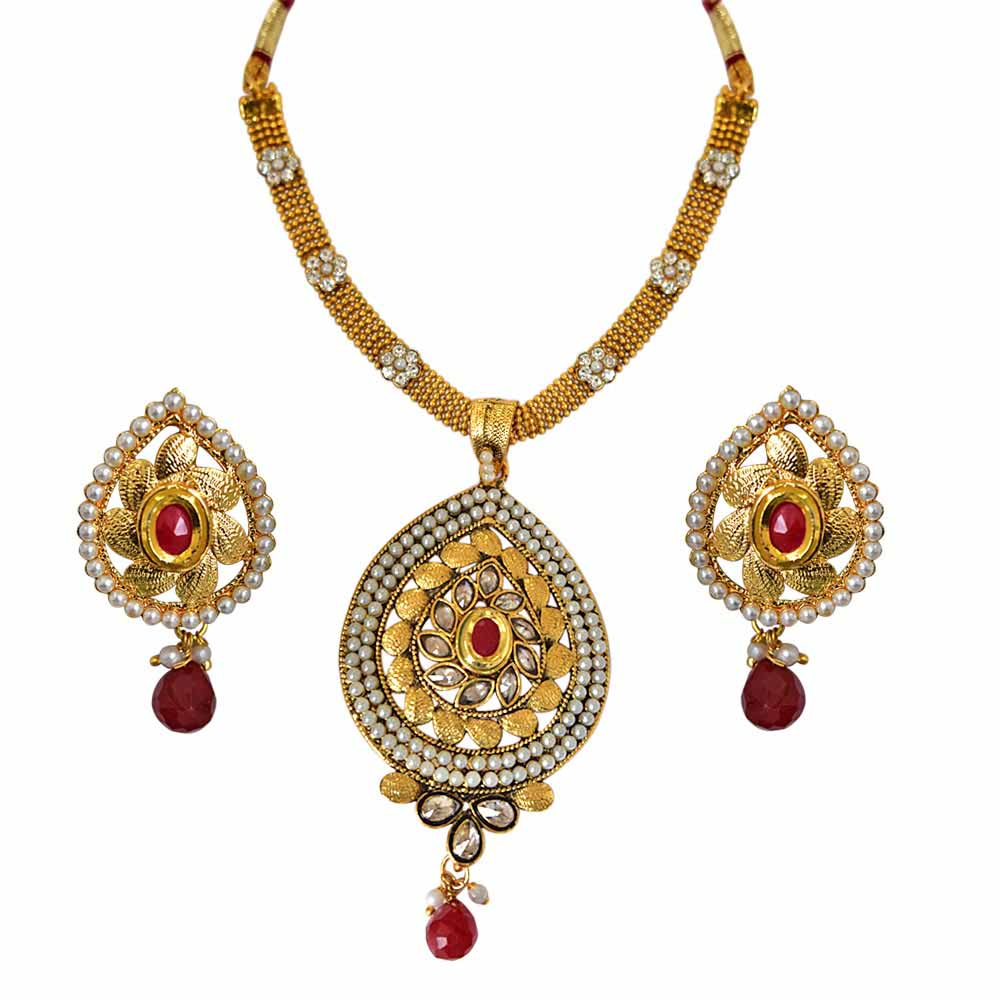 Traditional Pear Shaped Red and White Stones, Shell Pearl and Gold Plated Pendant Necklace and Earring