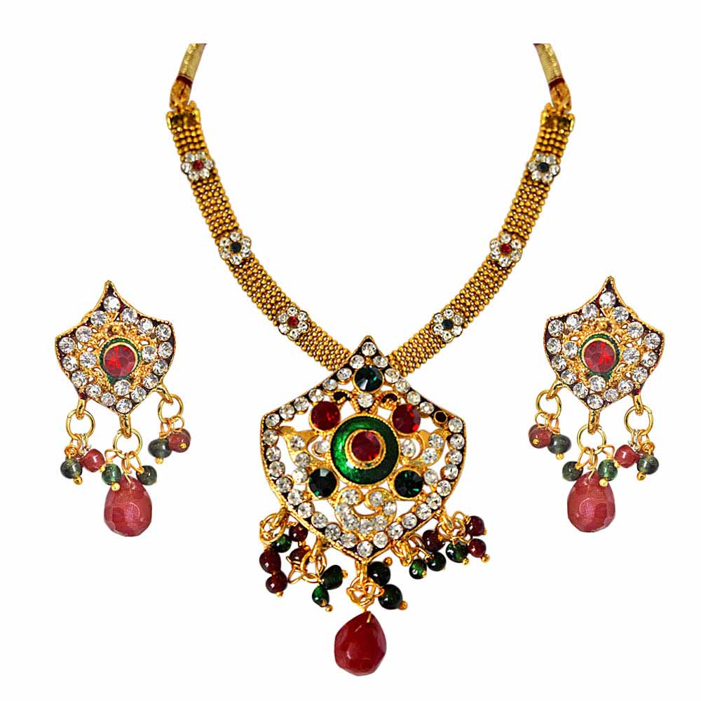 Ethnic Red, Green and White Stones and Gold Plated Pendant Necklace and Earring Set with Enamel