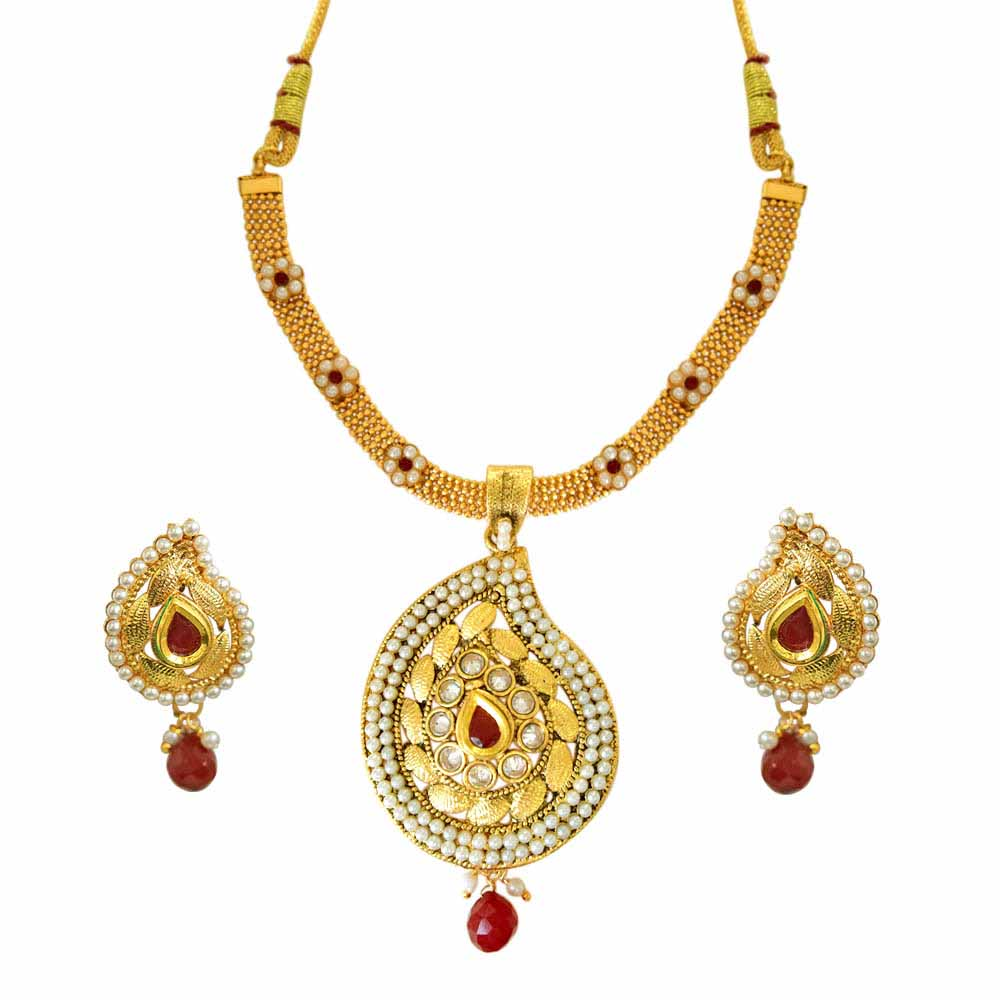 Gold Plated Sets-Ethnic Indian Motif Red and White Stones, Shell Pearl and Gold Plated Pendant Necklace and Earring Set