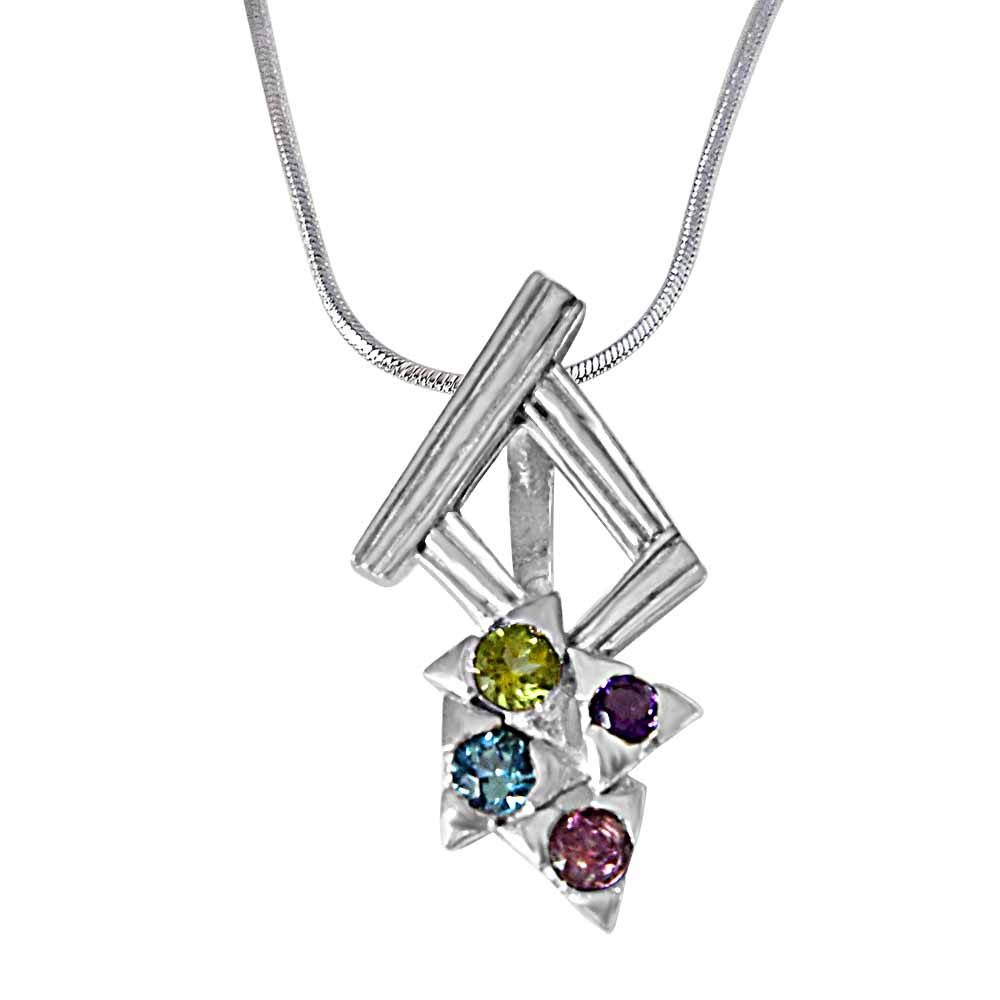 Precious Stone Pendant-Dancing Feet Amethyst, Topaz, Peridot, Rhodolite and 925 Sterling Silver Pendant