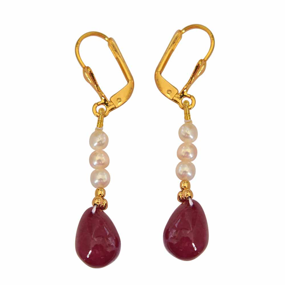 Real Red Ruby Drop and Real Freshwater Pearl Hanging Earrings