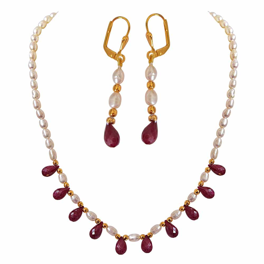 Precious Stone Necklaces-Faceted Drop Ruby, Rice Pearl and Gold Plated Beads Necklace and Earrings Set