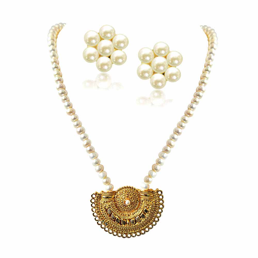 Pearl Necklaces-Gateway of Women's Heart Gold Plated Pendant and Single Line Real Pearl Necklace