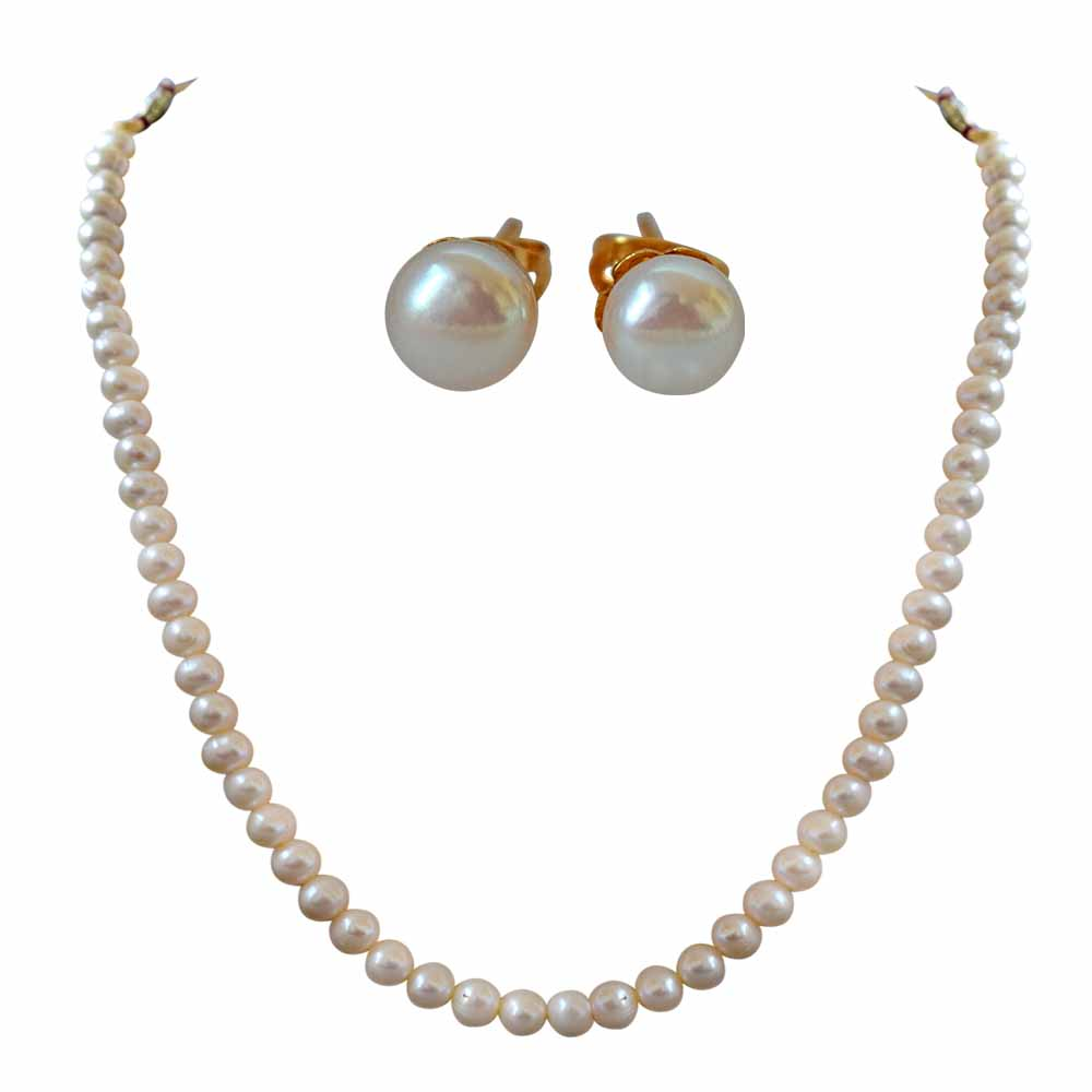 Pearl Necklaces-7/8 mm Real Round Natural White Pearl Single Line Necklace and Earring Jewellery Set