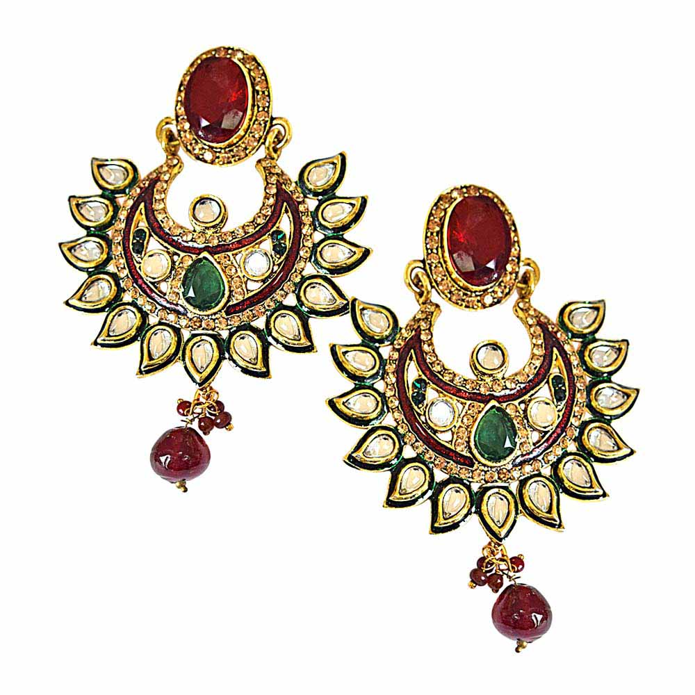 Gold Plated Earrings-Traditional polki, red & green stone & gold plated indian motif hanging earrings