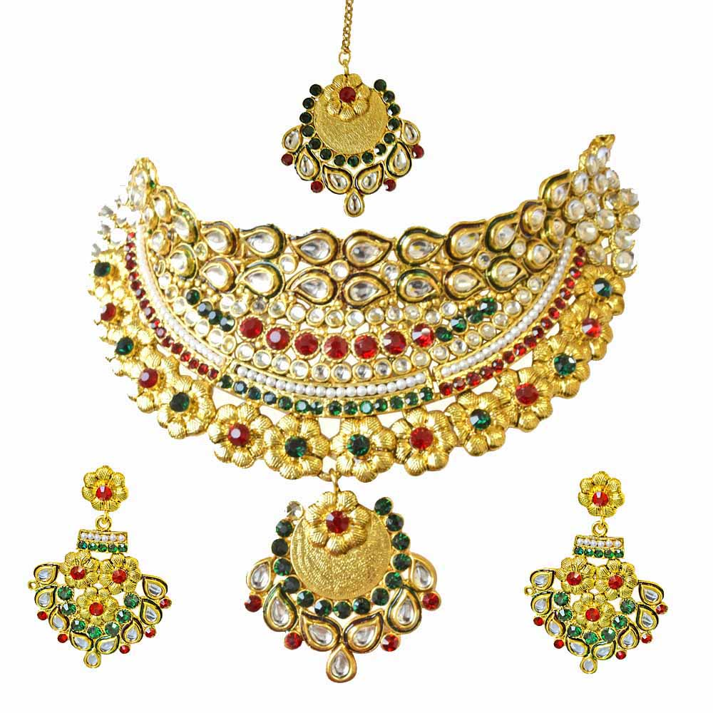 Sets-Ethnic choker style gold plated designer coloured stone fashion jewellery set for wedding