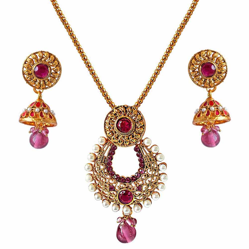 Fancy drop shaped pink stone & white shell pearl & gold plated pendant necklace & earring set