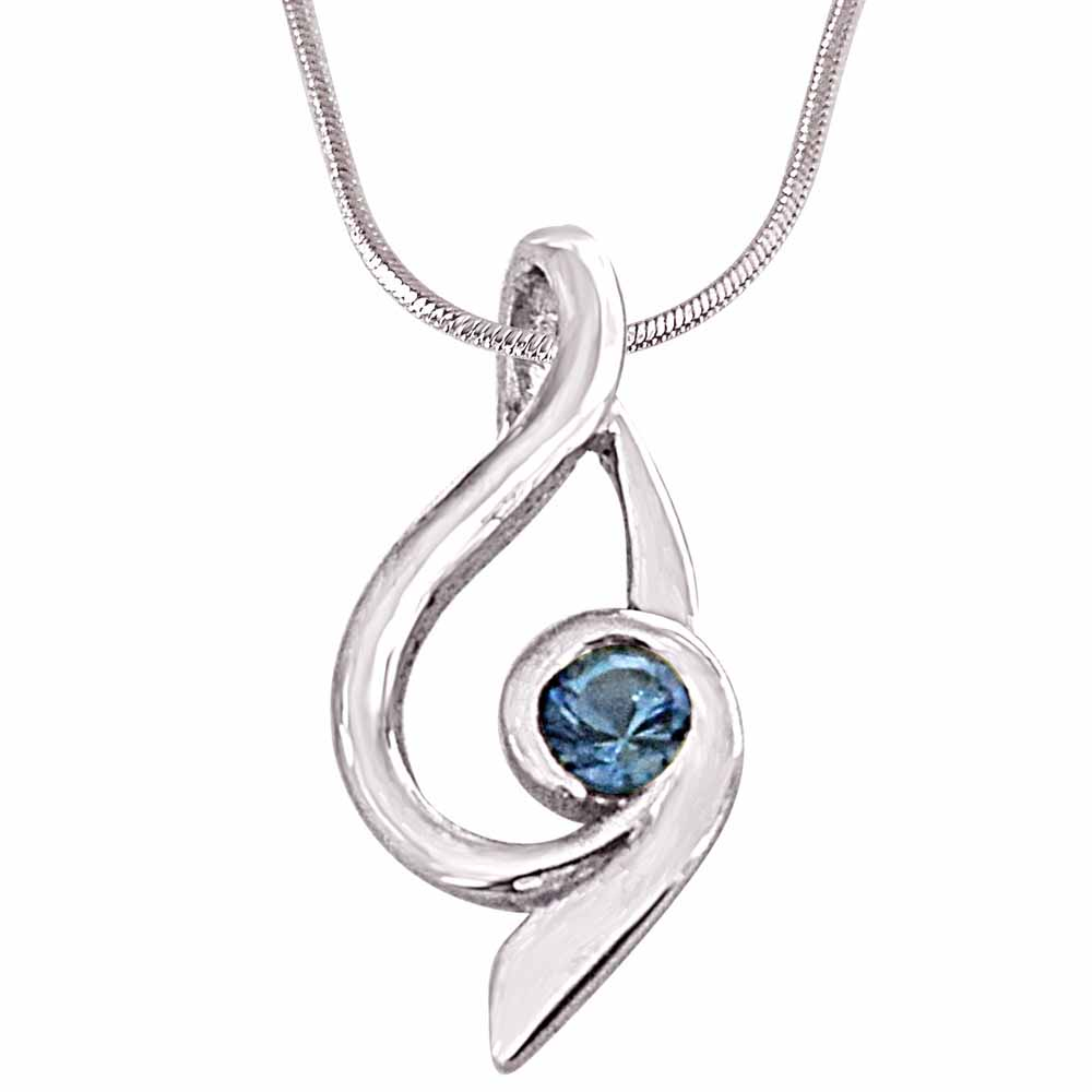 Silver Pendants-Trendy blue topaz and 925 sterling silver pendant with silver finished 18in chain